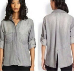 Anthro/Cloth & Stone Gray Chambray Button Down Top